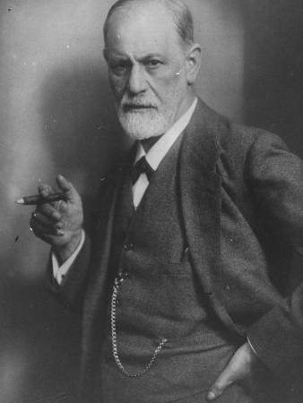 Portrait of Renowned Psychiatrist Dr. Sigmund Freud W. His Trademark Cigar