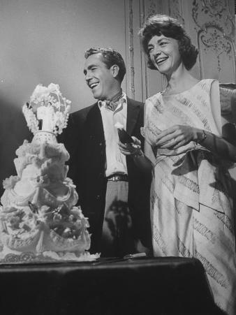 Jason Robards Jr. and Lauren Bacall Cutting the Cake at their Wedding