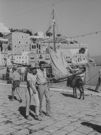 "Actress Melina Mercouri and Tony Perkins on Island of Hydra During Filming of ""S.S. Phaedra"""