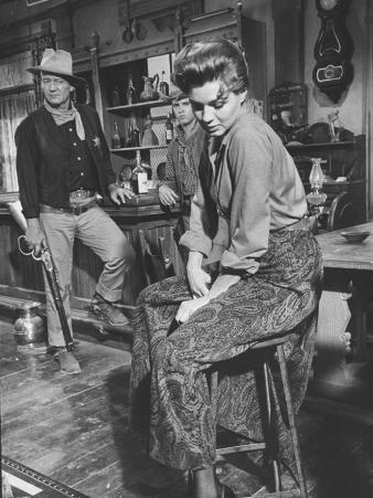 "Actress Angie Dickinson on Set for ""Rio Bravo"" with Actor John Wayne"