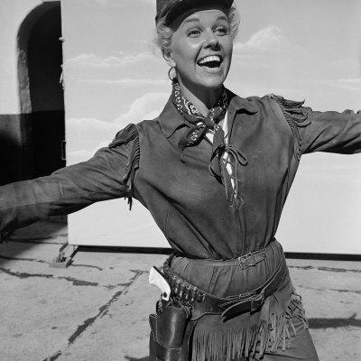"""Actress Doris Day in Costume on the Set of """"Calamity Jane"""""""