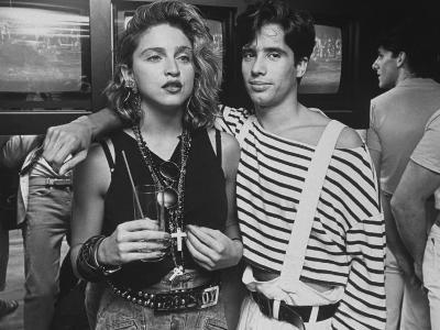 """Singer Madonna with D.J. Jellybean Benitez at Opening of Video Club """"Private Eyes"""