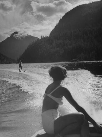 William Holden Water Skiing While His Wife Brenda Watches Him