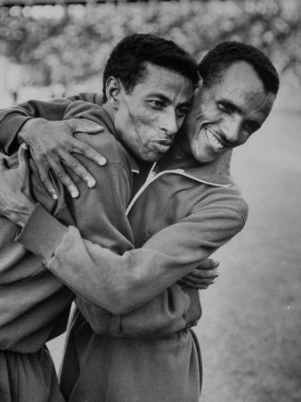 Ethiopian Runners Abebe Bikila and Mamo Wolde During Exhibition Race at Berlin Olympic Stadium