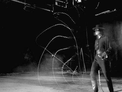 Actor Guy Williams Practicing Using a Whip for His Role as Zorro