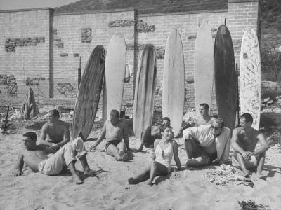 16 Yr. Old Surfer Kathy Kohner, with Her Friends