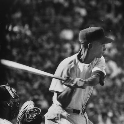 Action Shot of Chicago Cub's Ernie Banks, Preparing to Smack the Incoming Baseball with His Bat