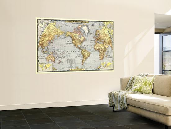 National Geographic World Map Murals.1943 World Map Wall Mural By National Geographic Maps At Allposters Com