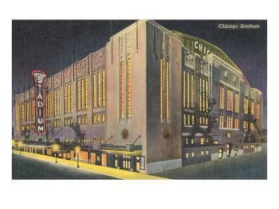 Chicago Stadium at Night, Chicago, Illinois