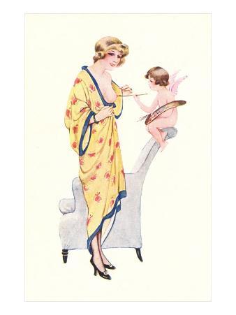 Cupid Painting Woman's Nipple