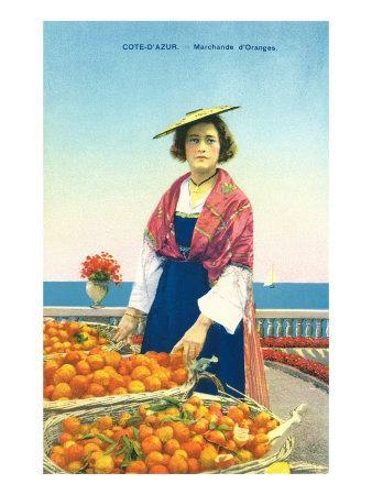 French Woman with Basket of Orange in the Cote dAzur