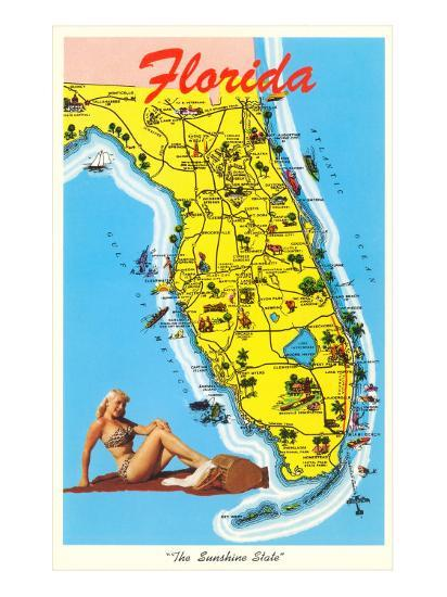 Florida Tourist Map Photo At Allposters Com
