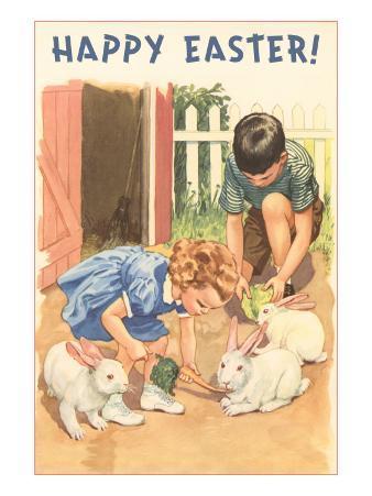 Happy Easter, Children Feeding Rabbits