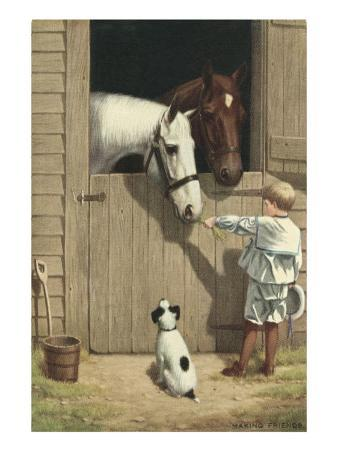 Little Boy Feeding Horse in Stable