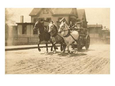 Horse-Drawn Fire Engine Racing to the Fire