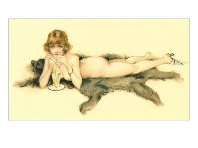 Nude Sipping Drink on Bearskin Rug