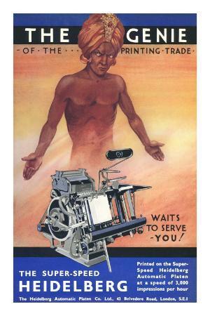 Semi-Nude Genie with Printing Press