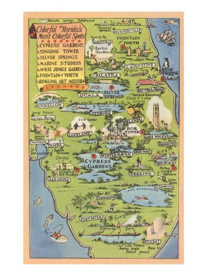 Tourist Map Of Florida Print At Allposters Com