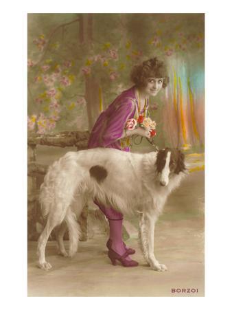 Woman in Purple with Borzoi