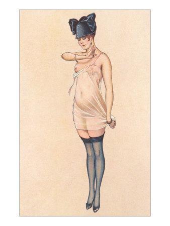 Woman in Sheer Slip with Black Stockings