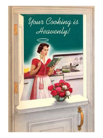 Your Cooking is Heavenly, Woman Reading Cookbook