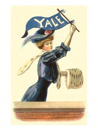 Woman in Blue with Yale Pennant