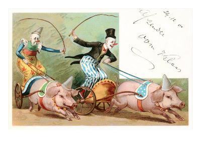 Clowns with Pig-Drawn Chariots