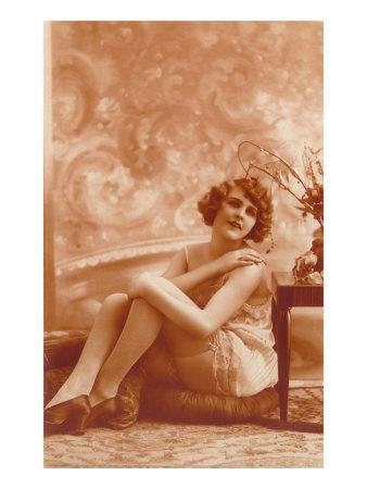 Woman in Slip with Swirly Wallpaper