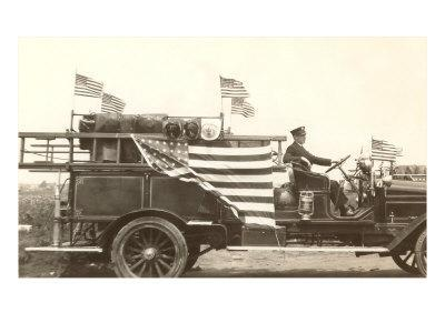 Fire Truck with Flags