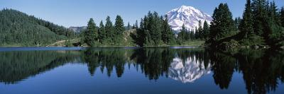Reflection of a Mountain in a Lake, Mt Rainier, Mt Rainier National Park, Pierce County