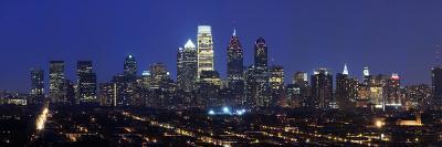 Buildings Lit Up at Night in a City, Comcast Center, Center City, Philadelphia