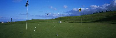 Golf Flags and Golf Balls in Golf Course, Santo Da Serra Course, Santo Da Serra, Madeira, Portugal