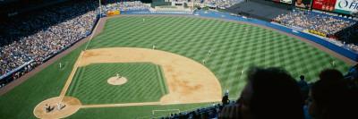 High Angle View of Spectators Watching a Baseball Match in a Stadium, Yankee Stadium
