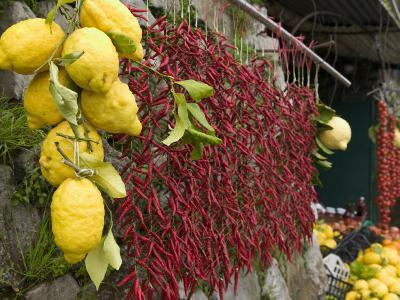 Close-up of Lemons and Chili Peppers in a Market Stall, Sorrento, Naples, Campania, Italy