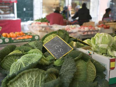 Vegetables in a Market Stall, Place Aux Herbes, Grenoble, French Alps, France