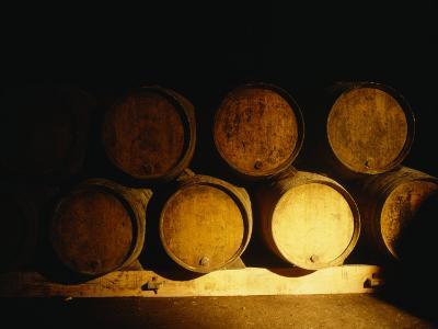 Barrels in a Cellar, Chateau Pavie, St. Emilion, Bordeaux, France