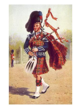 Scot Playing Bagpipes, 1912