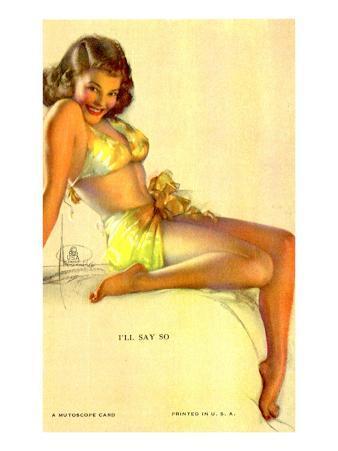 Pin-Up Girl in Yellow Bikini, 1940