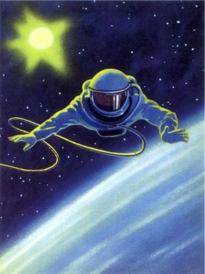 Sci Fi Astronaut Floating In Space 1966 Giclee Print At