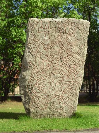 Rune Stone in Grounds of Uppsala Cathedral, Sweden, Scandinavia, Europe
