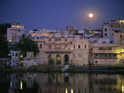 Moonlit View of Gangaur Ghat, with Old City Gateway, Udaipur, Rajasthan State, India