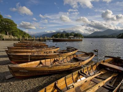 Boats Moored at Derwentwater, Lake District National Park, Cumbria, England, United Kingdom, Europe
