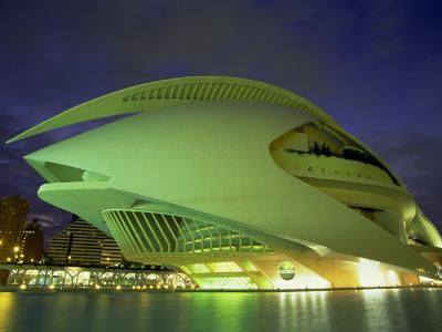 Palace of Arts at Night, City of Arts and Sciences, Valencia, Spain, Europe