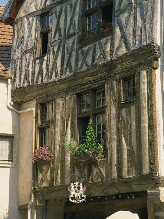 Exterior of a Timber Framed House in the Village of Noyers Sur Serein, in Burgundy, France