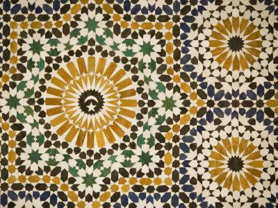 Detail of Zellij Tilework, Musee De Marrakech, Marrakech, Morocco, North Africa, Africa