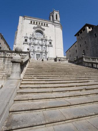 Steps of Cathedral, Wide View, Old Town, Girona, Catalonia, Spain