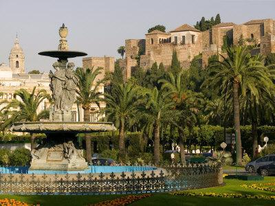 General Torrijos Square and Alcazaba, Malaga, Andalucia, Spain, Europe
