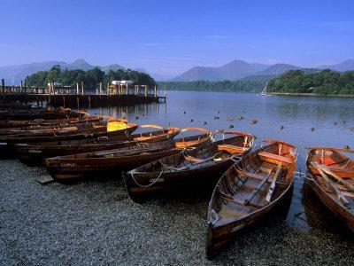 Boats on Derwent Water at Keswick, Lake District National Park, Cumbria, England, United Kingdom