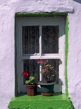 Green Window in Traditional House, Cashel, County Tipperary, Munster, Republic of Ireland, Europe