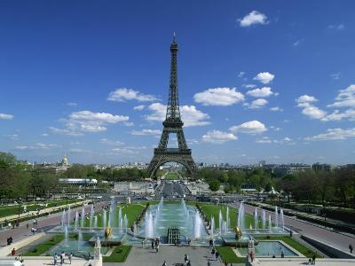 Eiffel Tower with Water Fountains, Paris, France, Europe